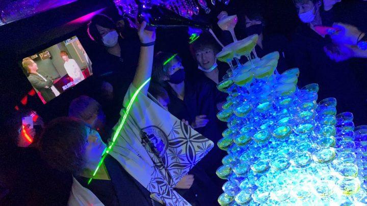 昇格祭シャンパンタワー